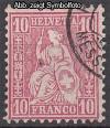 Schweiz Mi. Nr. 38 Sitzende Helvetia Faserpapier o