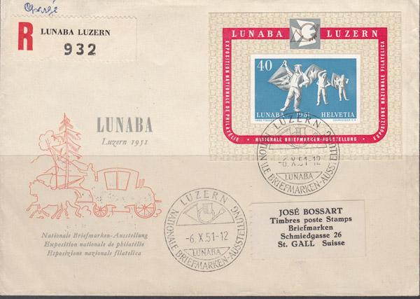 Briefmarken Schweiz Block 14 Lubana 1951 Auf Brief Echt Gelaufen B