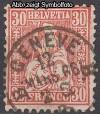 Schweiz Mi. Nr. 25 Sitzende Helvetia 30 C o