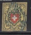 Schweiz Mi. Nr. 8 II o RAYON II ohne Kreuzeinfassung